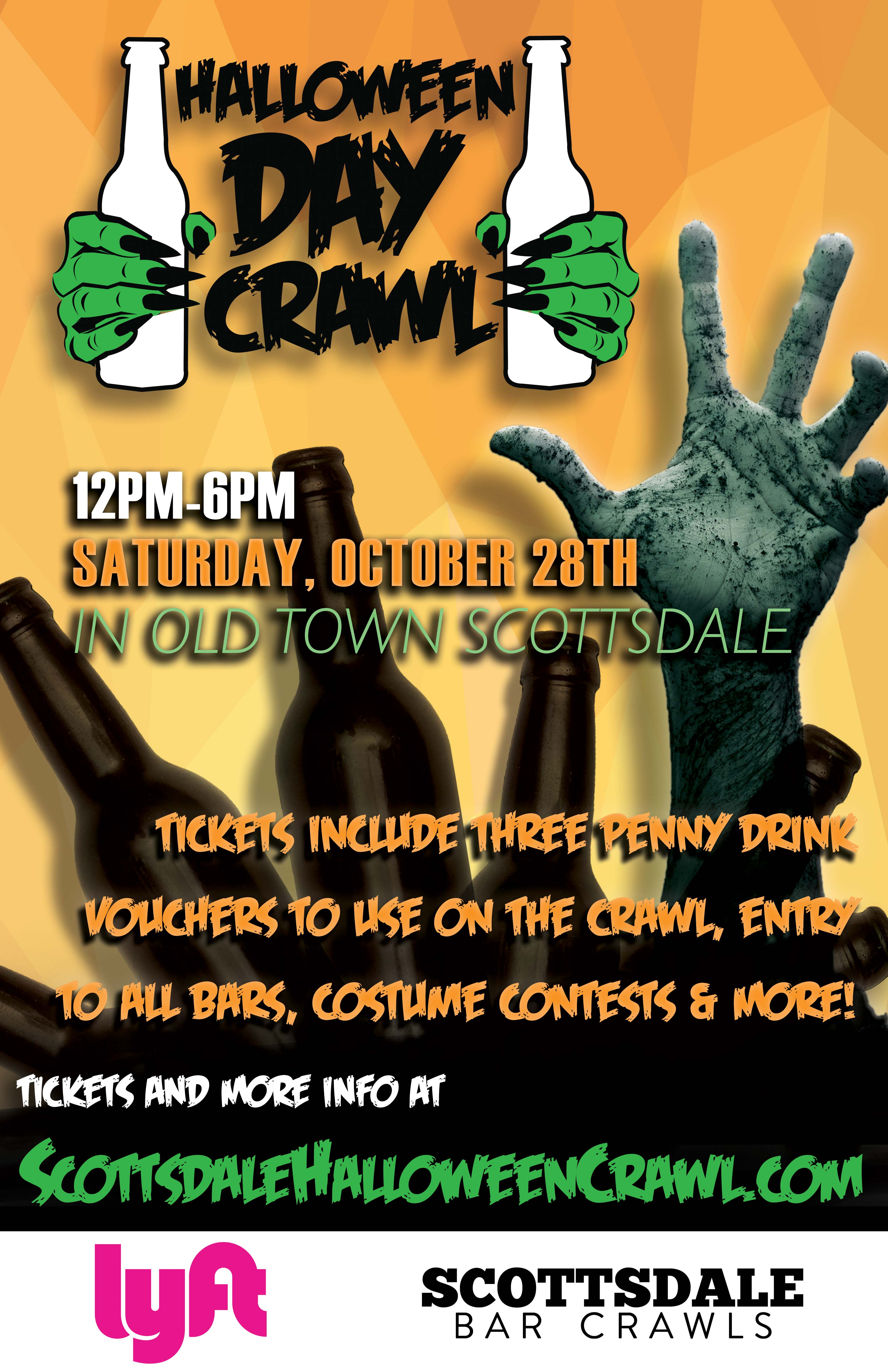 Scottsdale Halloween Day Bar Crawl Party- Tickets include three penny drink vouchers to use on the crawl, entry to all bars, costume contests, giveaways & MORE!