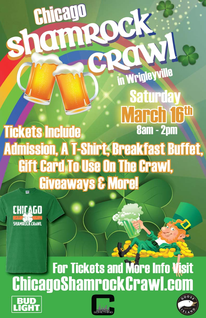 Chicago Shamrock Bar Crawl - Tickets include Admission, a T-Shirt, Breakfast Buffet, A Gift Card to Use on the Crawl, Giveaways & MORE!