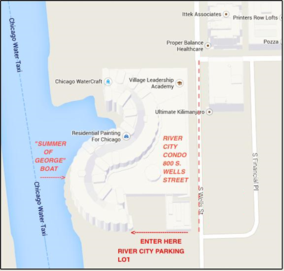 Map to Summer of George Chicago - River City Marina
