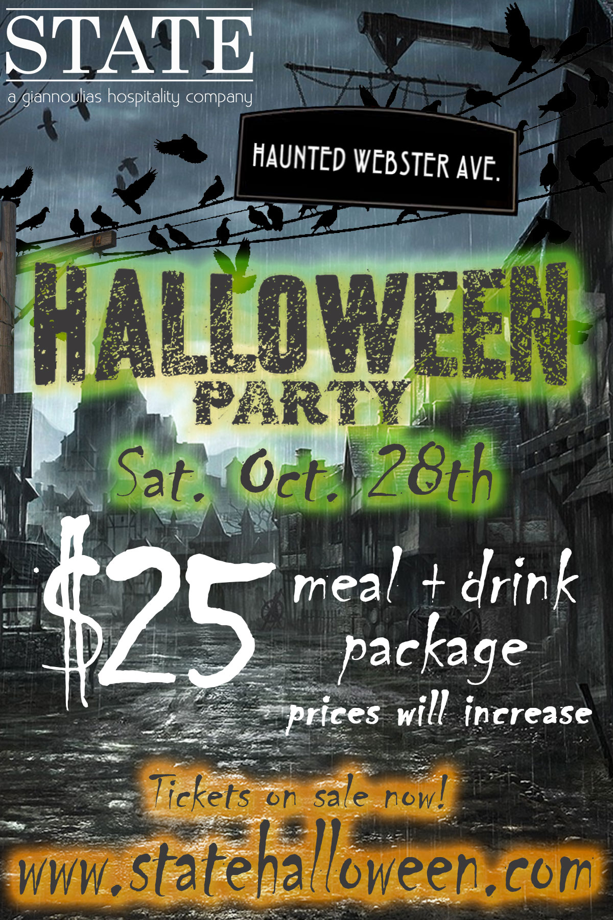 State Halloween Party in Chicago - Join us at State Halloween! Package includes: Calls, Wells, Miller Lite Drafts, Coors Light Drafts, and 1 Meal Item!
