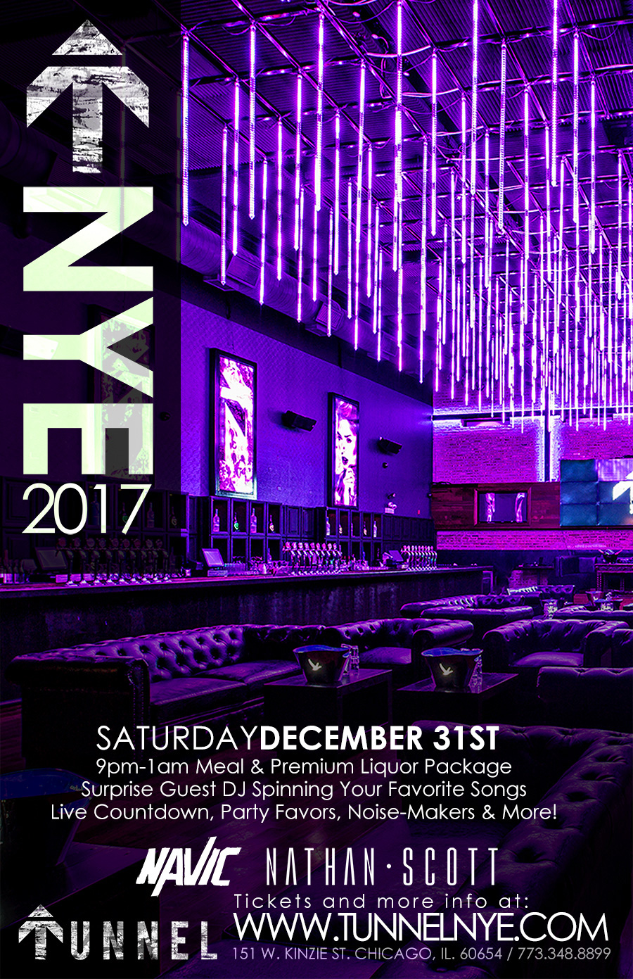 Tunnel New year's eve party - Join us at the newest club in Chicago for a surprise guest DJ spinning your favorite songs!