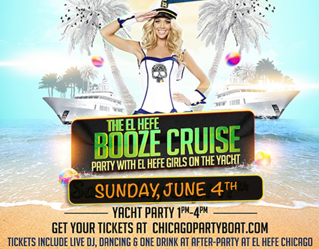 El Hefe Booze Cruise on Lake Michigan! Tickets include a Live DJ, Dancing, and A Penny Drink At The After-Party at El Hefe! Catch breathtaking views of the skyline while aboard the booze cruise!