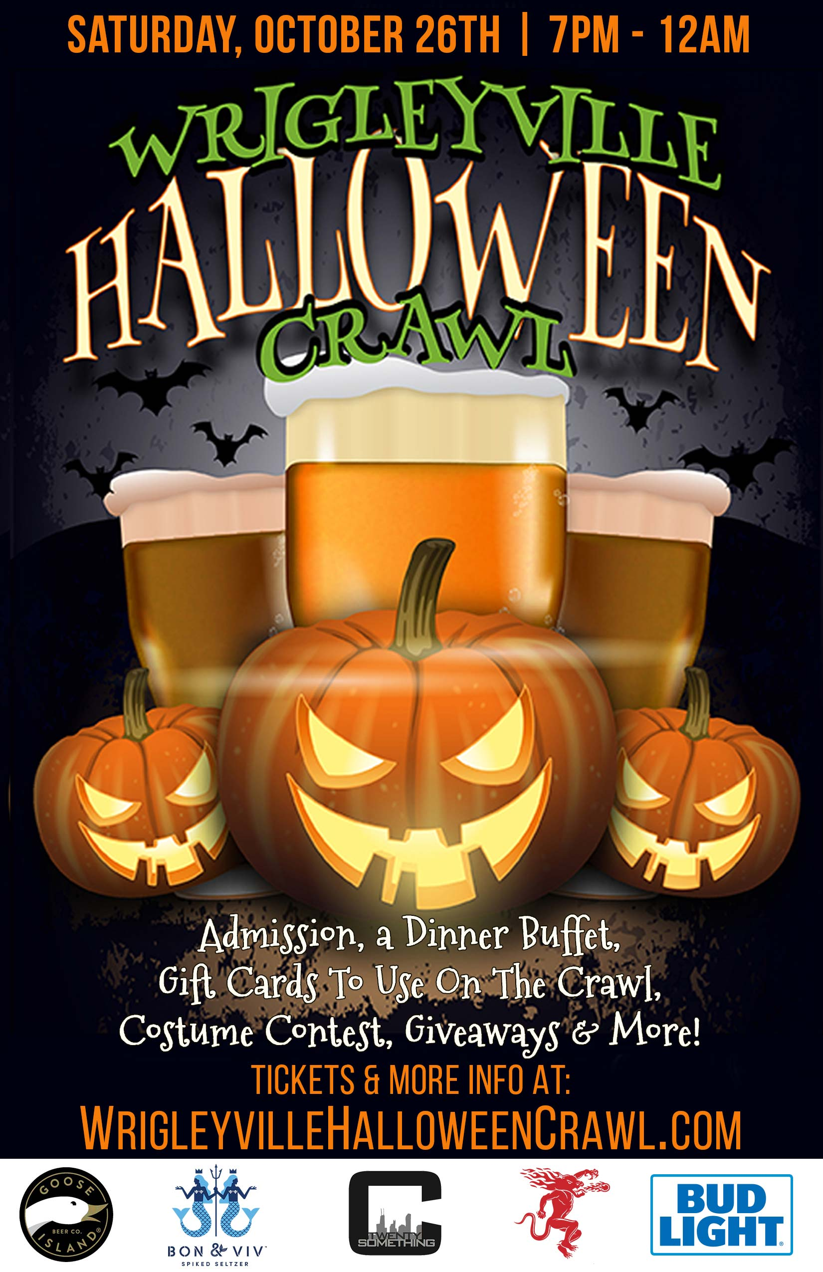 Wrigleyville Halloween Bar Crawl Party in Chicago - Tickets include Admission & a Free DInner Buffet, Gift Cards to Use on the Crawl, a Costume Contest, Giveaways & MORE!