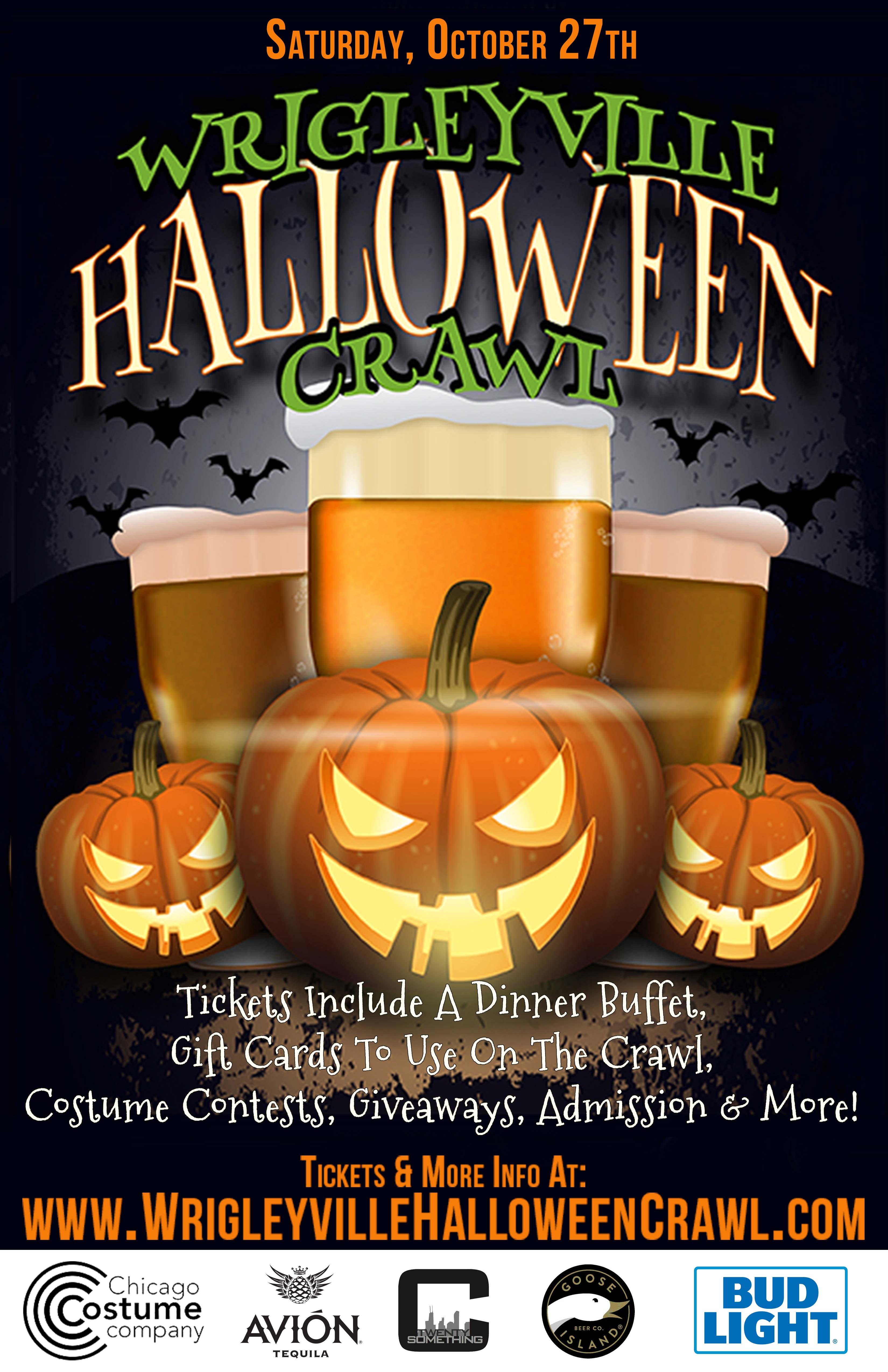 Wrigleyville Halloween Bar Crawl in Chicago - Tickets include admission, a dinner buffet, gift cards to use on the crawl, costume contests, giveaways & MORE!