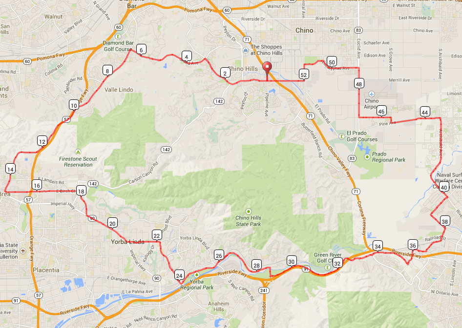 54 mile route: Chino Hills/SART route. Same as last year with a few improvements (2200 elev gain) http://ridewithgps.com/routes/5544034