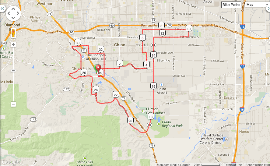 34 mile route (Chino/Chino Hills) 1345 Elv. Gain.