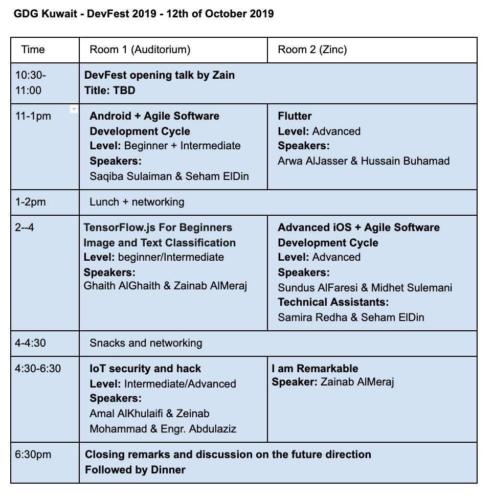 Timetable of workshops and speakers