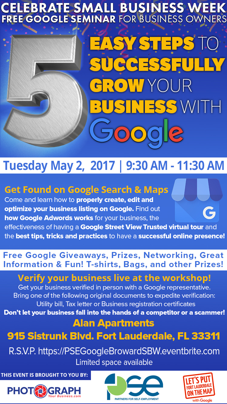Flyer for Partners for Self Employment Small Business Week Google Seminar by Robert Martinez Photograph Your Business