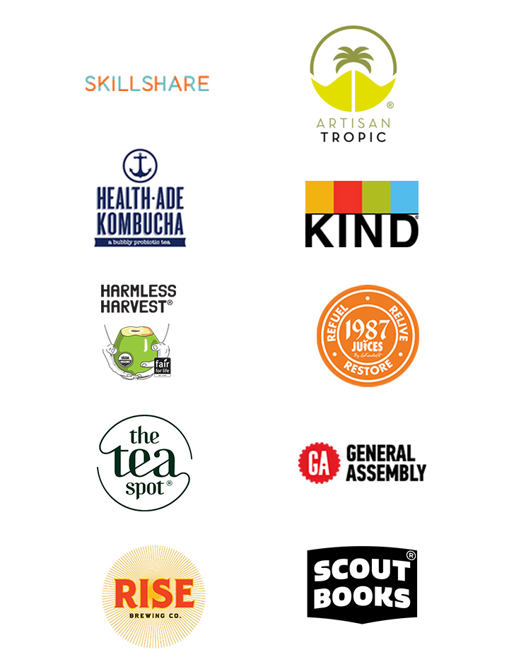 Sponsors from last year included Health-Ade Kombucha, Rise Brewing Company, KIND snacks, The Tea Spot, Skillshare, Artisan Tropic, 1987 Juices, General Assembly and Scout Books.