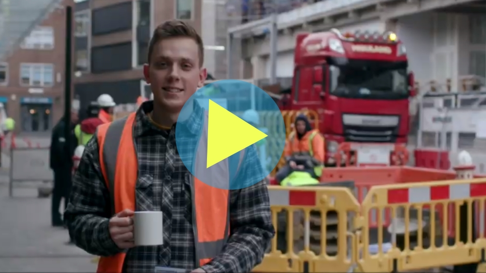 Construction worker featured in interview with Bill Hill CEO The Lighthouse Club talking about mental health in construction