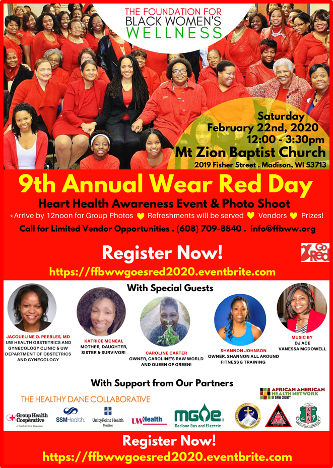 Wear Red Day flyer with smiling women in red
