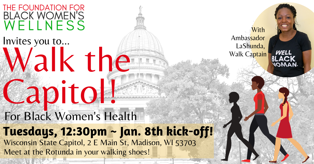 Flyer with image of WI State Capitol and Smiling Woman
