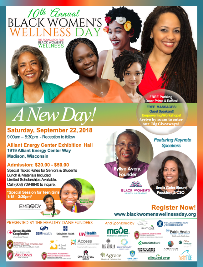 2018 BWWDAY Flyer with Byllye Avery & Linda Goler Blount
