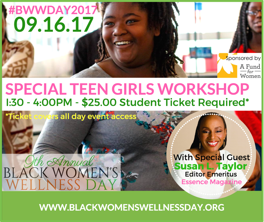 Multicolor BWWDAY Girls Flyer with Smiling Teen and Susan L Taylor