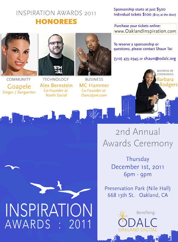 Inspiration Awards 2011 honoring MC Hammer, Goapele & Alex Bernstein