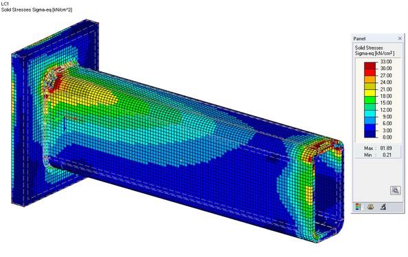 Spanning von mises op 3D solids in RFEM