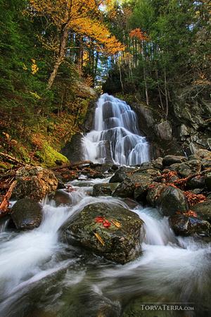 Vermont waterfall in autumn