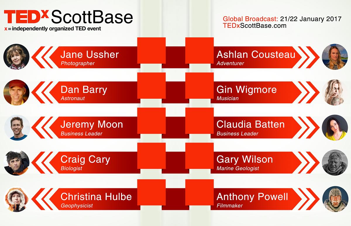 TEDxScottBase speaker lineup