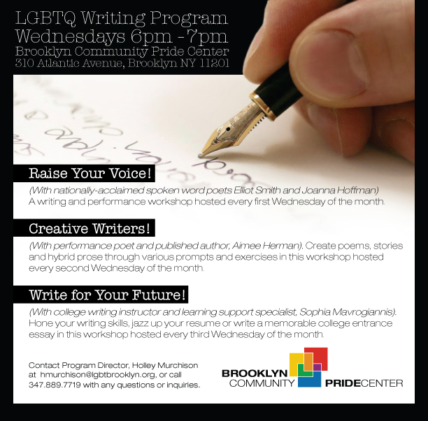 LGBTQ Writing Program Flyer