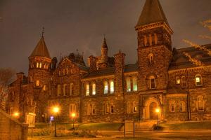 haunted University College at dusk