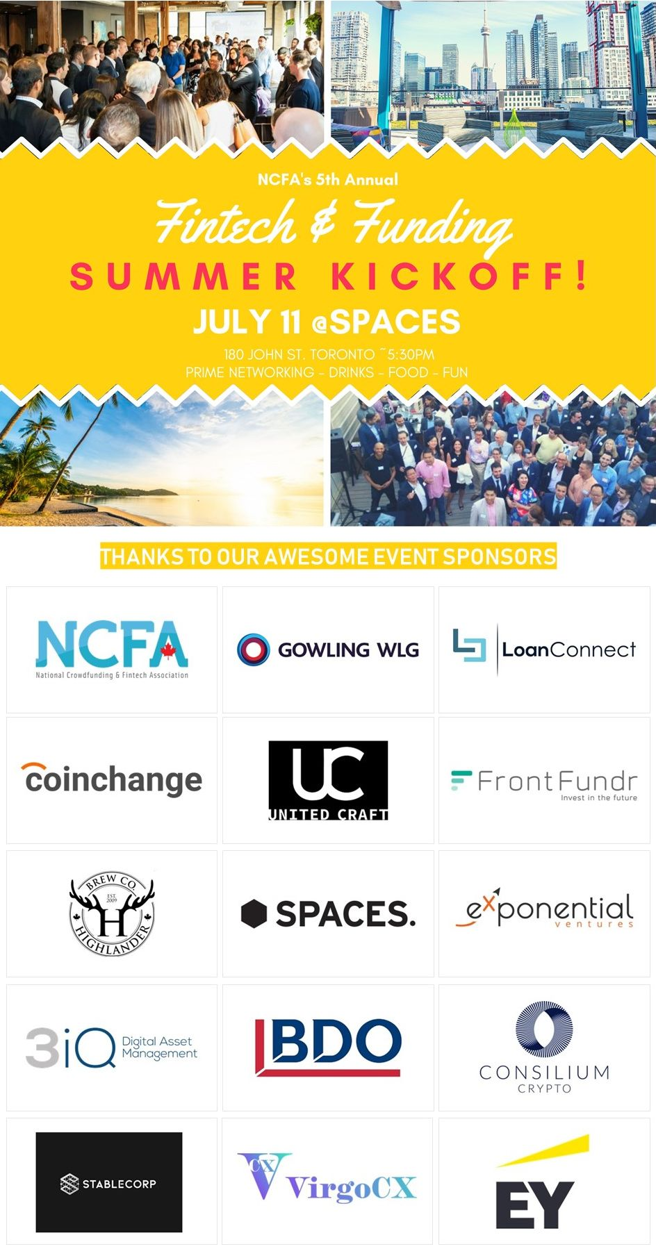 NCFA Annual Summer Kickoff Networking Event July 11, 2019 Toronto