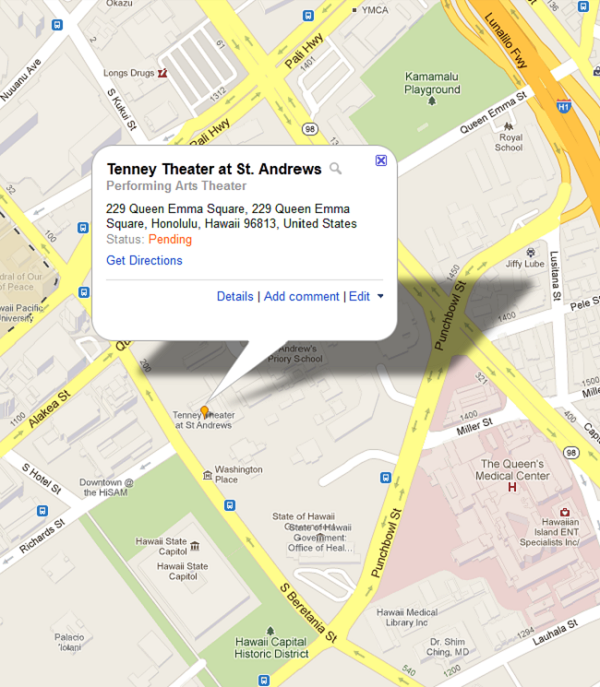 Street Map for Tenney Theater