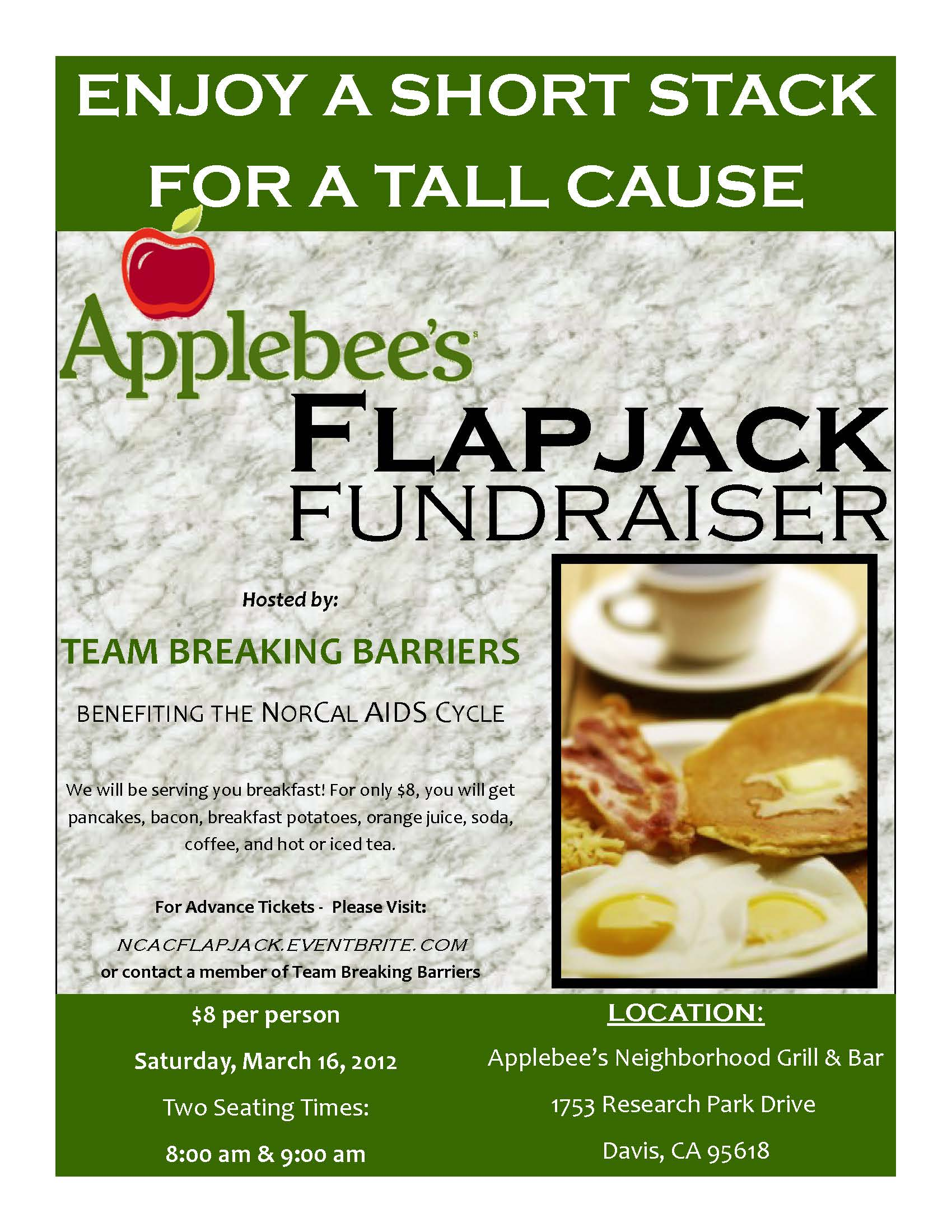 applebee 39 s flapjack breakfast benefiting team breaking. Black Bedroom Furniture Sets. Home Design Ideas