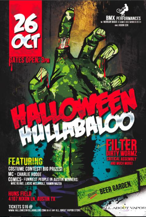 Halloween Hullabaloo Festival Flyer - Music Fest Austin Texas