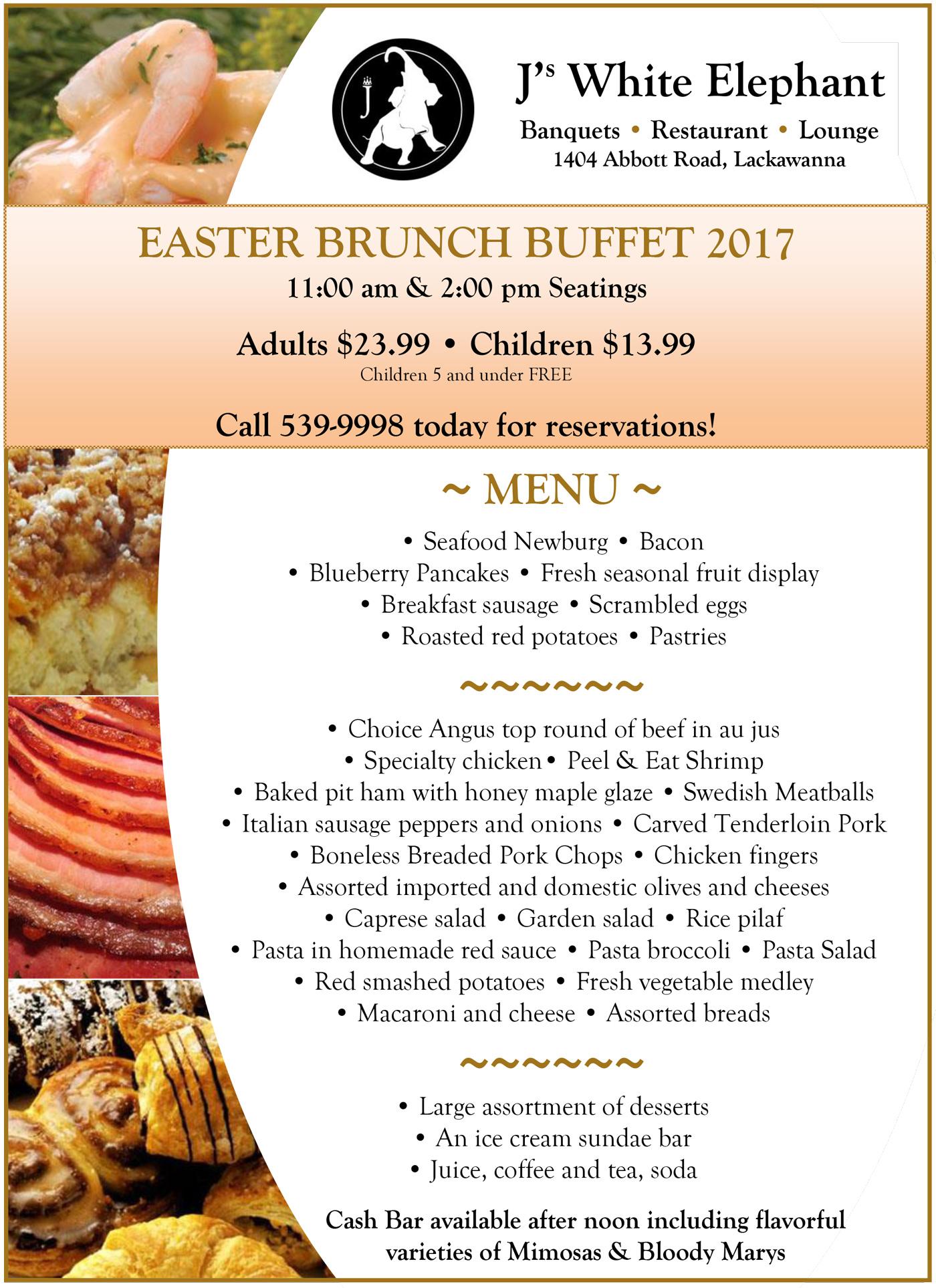 Easter buffet brunch 2017 j 39 s white elephant buffalo for Easter brunch restaurant menus
