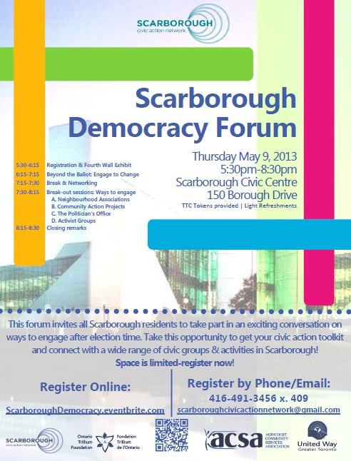 Scarborough Democracy Forum Flyer