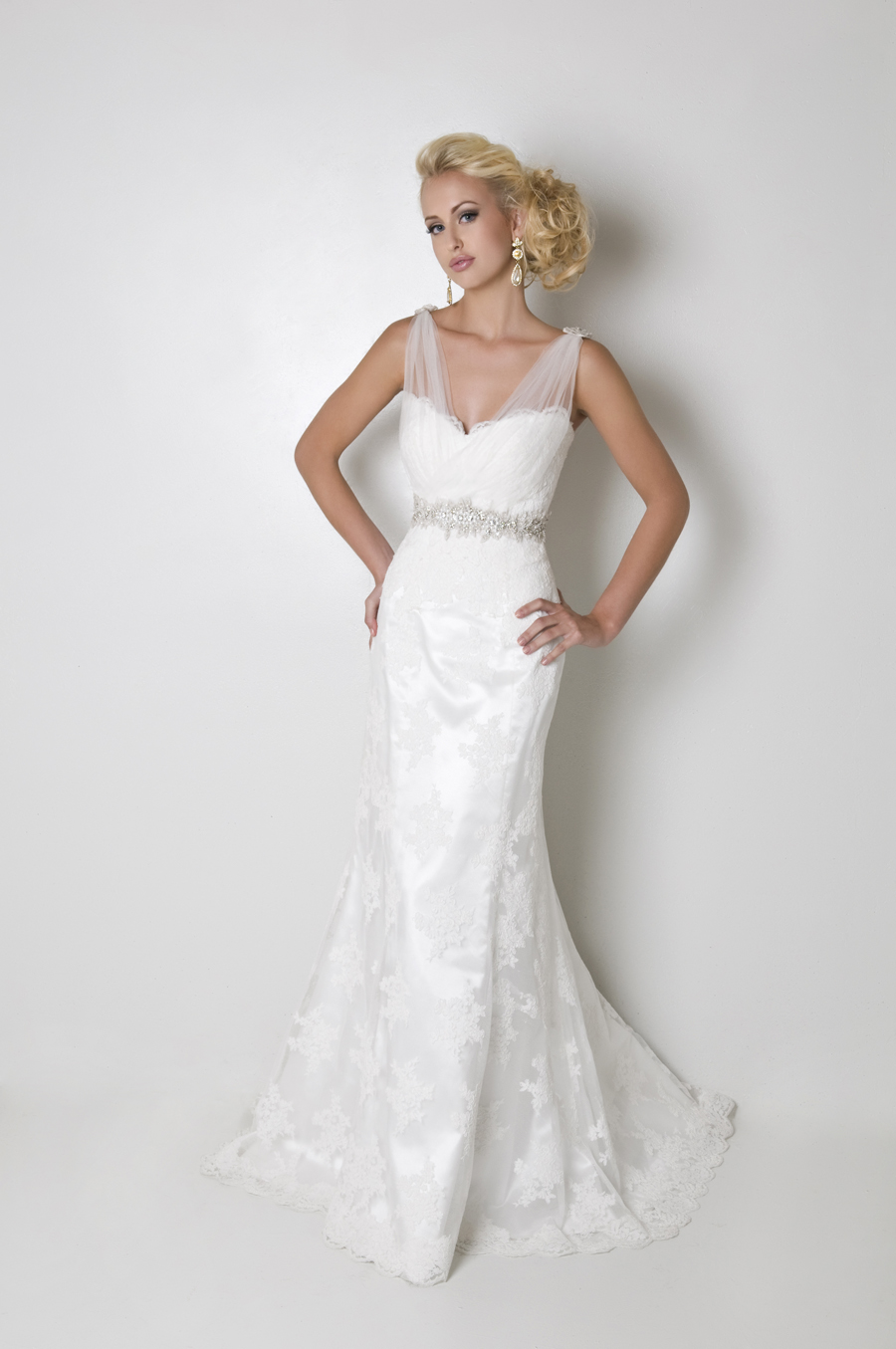 re-embroidered lace gown with illusion tulle straps
