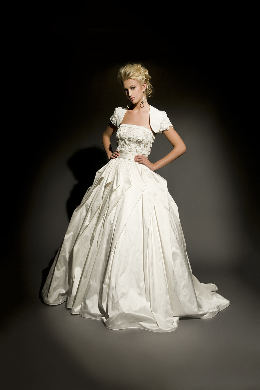 silk shantung ballgown with texturally beaded bodice