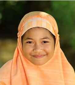 Muslim child smiling