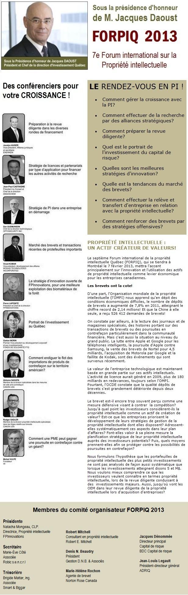 FORPIQ 2013 : Sous la présidence d'honneur de M. Jacques Daoust - Des conférenciers pour VOTRE CROISSANCE!