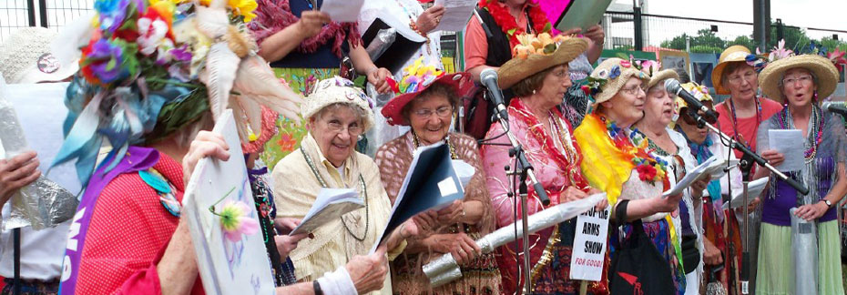 Cathleen singing with the Raging Grannies