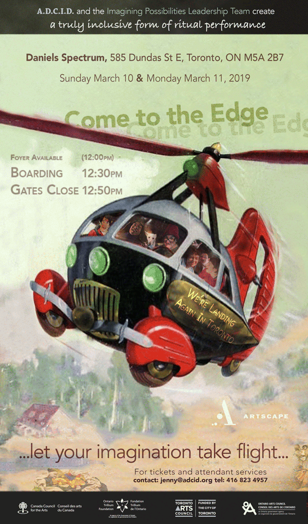 Flyer for event shows old fashioned helicopter being flown by the Leadership Team.  Text reads, let you imagination take flight.