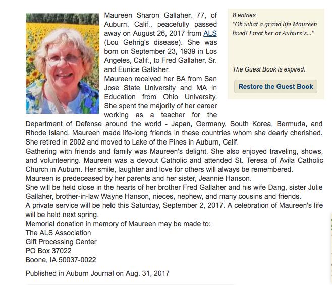 Maureen Gallaher obituary