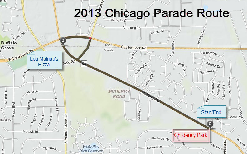 2013 Chicago Parade Route