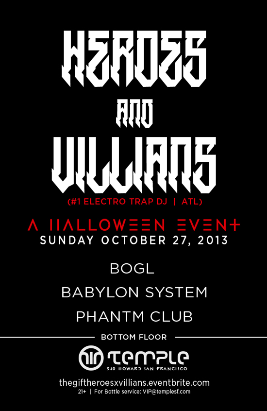 Heros and Villians oct 27th