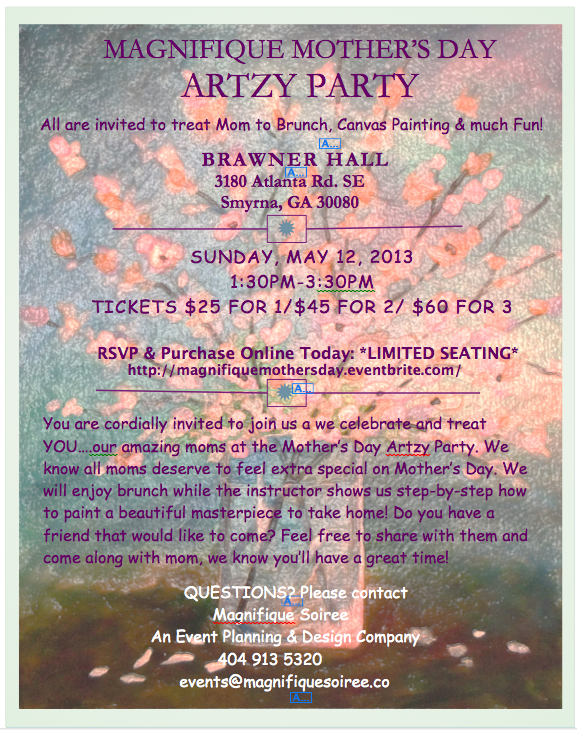Magnifique Mother's Day Artzy Party Ad