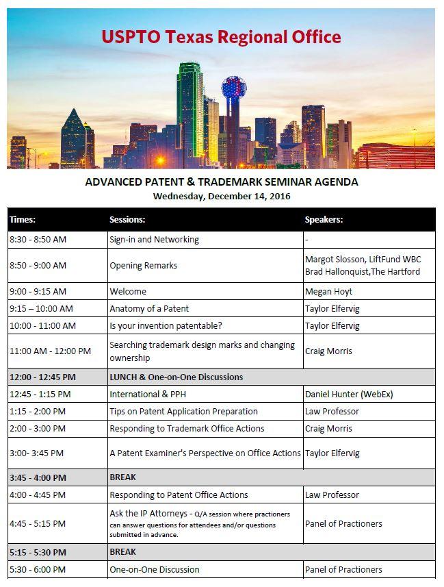 Patent and Trademark Event Agenda
