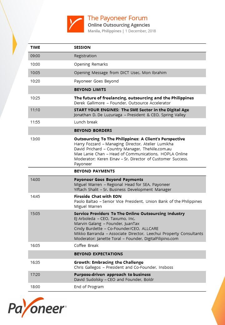 Manila Forum Agenda
