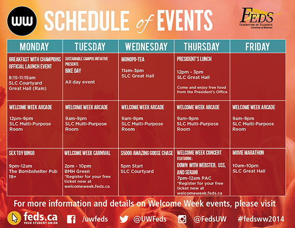 Weekly events schedule