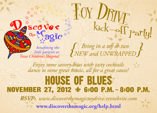 Come join us Tuesday, Nov,. 27th at the most Rockin' place in Houston...House of Blues - The Foundation Room, for our annual