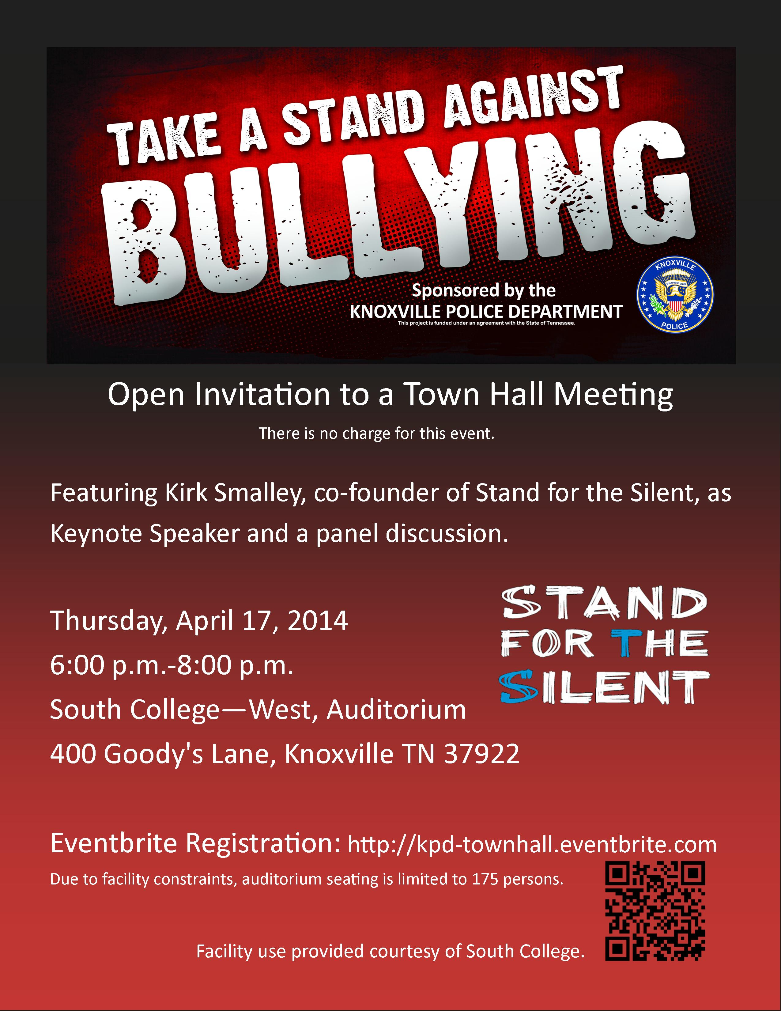 Town Hall Meeting flyer. April 17, 2014. Includes QR code