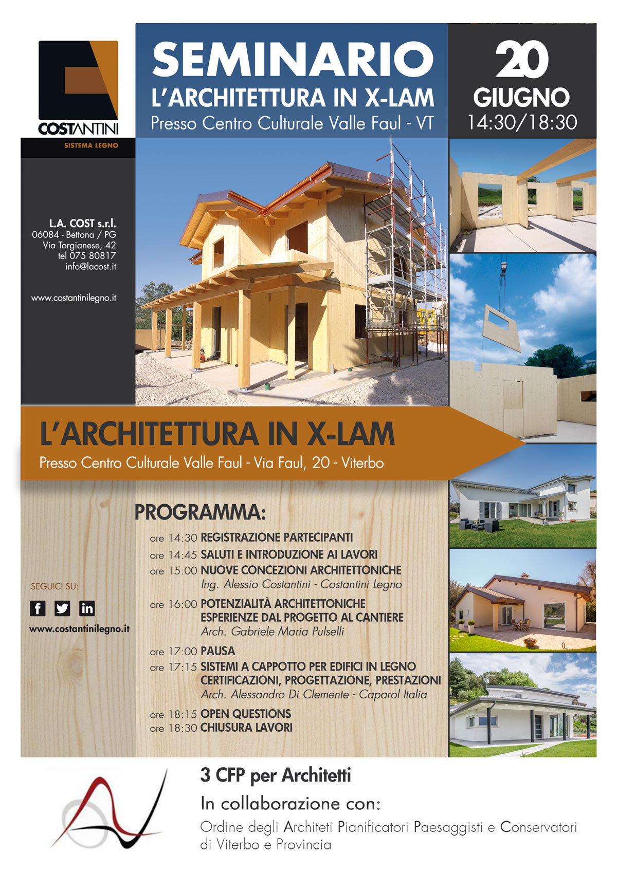 Locandina Seminario L'Architettura in X-LAM - Viterbo
