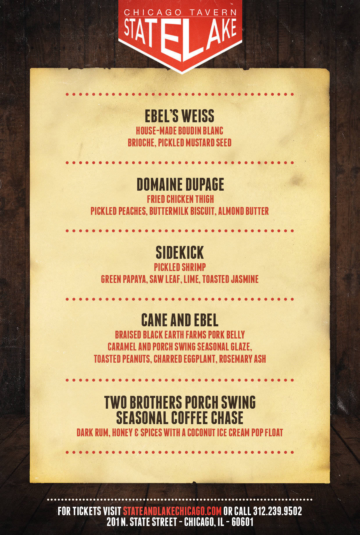 Parlor Series menu