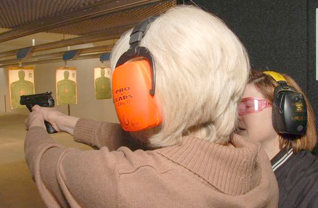 Angie instructing on range 5