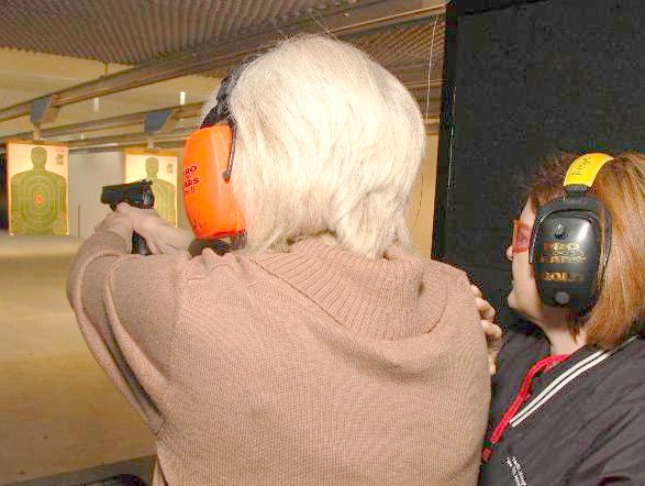 Angie instructing on range 5