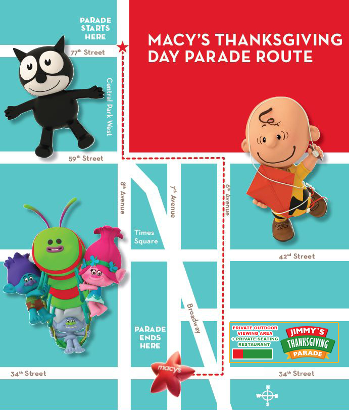 Macy's Thanksgiving Day Parade at Jimmy's American Bar & Grill Restaurant MAP